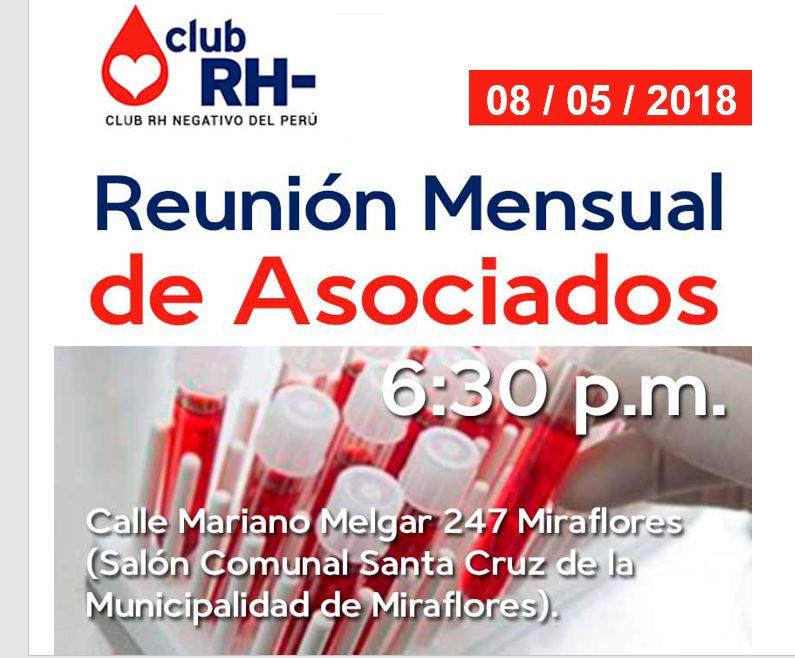 Aviso Reunión Asociados Club RH Negativo Martes 13 de febrero 2018