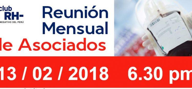 Reunion Mensual Club Rh Negativo, martes 13 de febrero de 2018