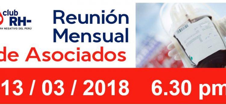 Reunion Mensual Club Rh Negativo, martes 13 de marzo de 2018