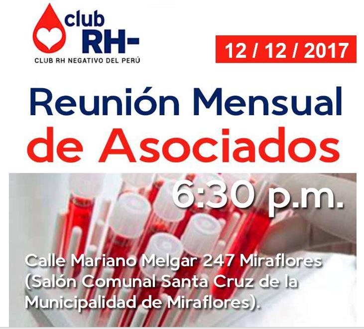 Aviso Reunión Asociados Club RH Negativo Martes 12 de diciembre 2017