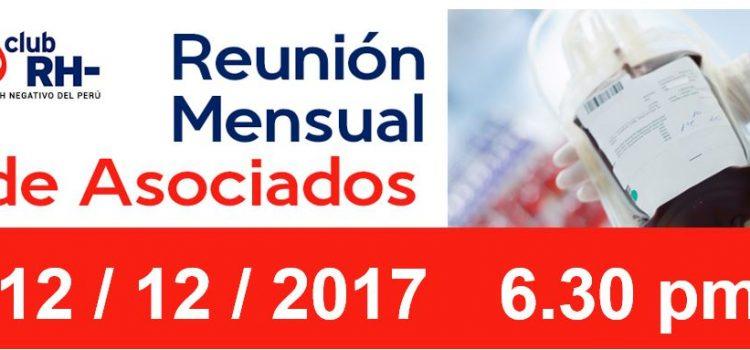Reunion Mensual Club Rh Negativo – Martes 12 de diciembre de 2017
