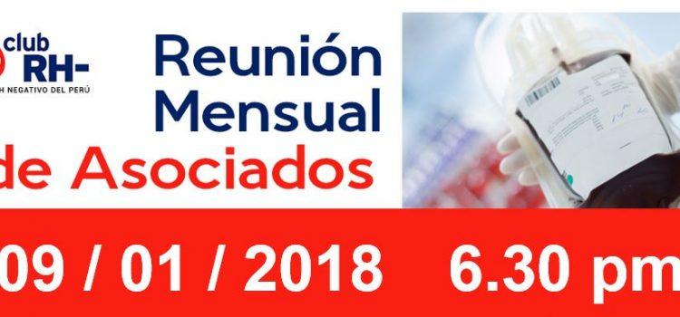 Reunion Mensual Club Rh Negativo, martes 09 de enero de 2018