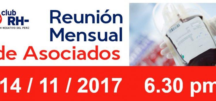 Reunion Mensual Club Rh Negativo – Martes 14 de Noviembre de 2017