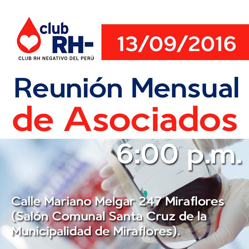 Reunión Asociados Martes 13 setiembre 2016