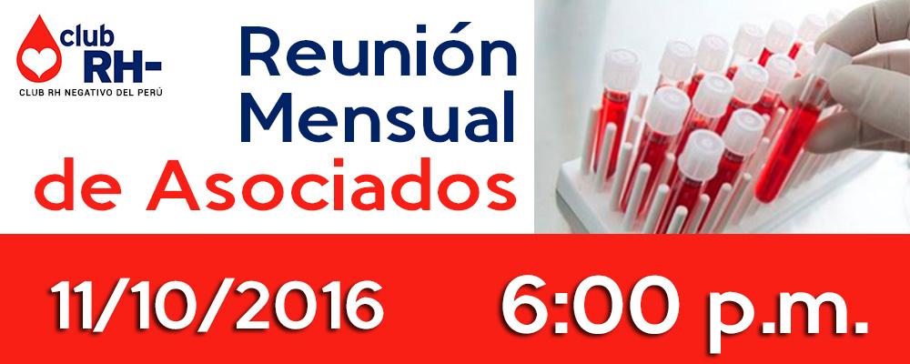 Reunión Mensual de Asociados Martes 11 de Octubre