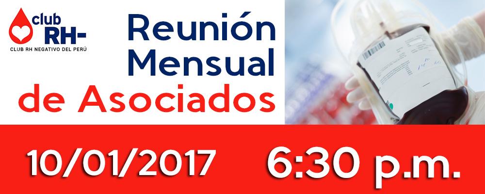 Reunión Mensual de Asociados Martes 10 de Enero 2017