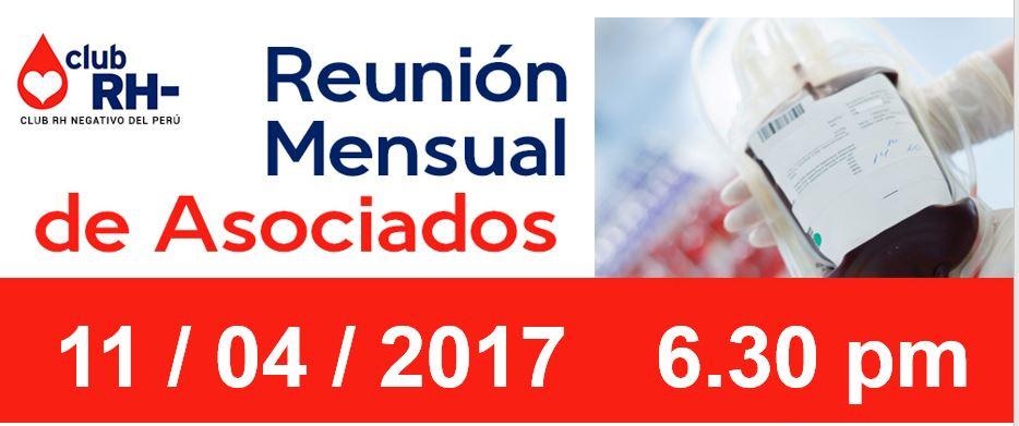 Reunion Mensual martes 11 de abril de 2017