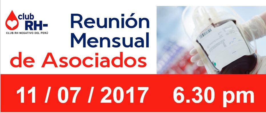 Reunión Mensual Club Rh Negativo, martes 11 de julio 6.30 pm.