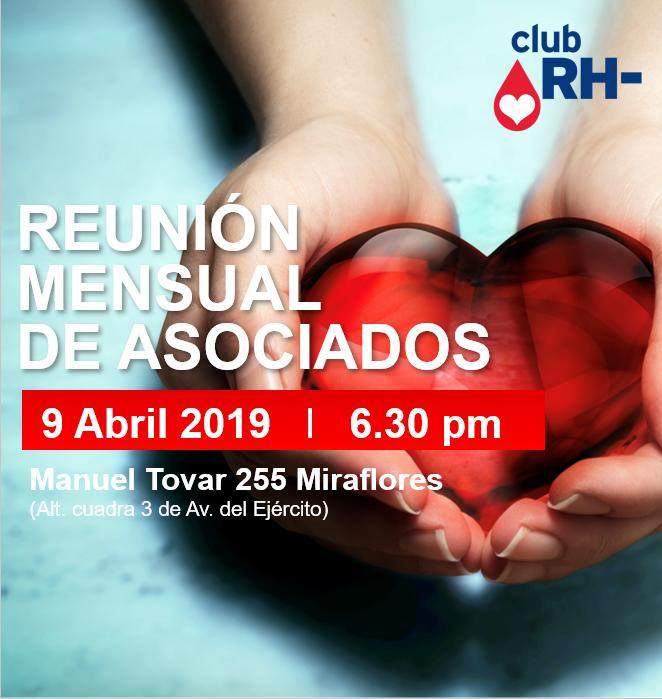 Aviso Reunión Asociados Club RH Negativo Martes 09 de abril 2019 (NUEVO LOCAL)