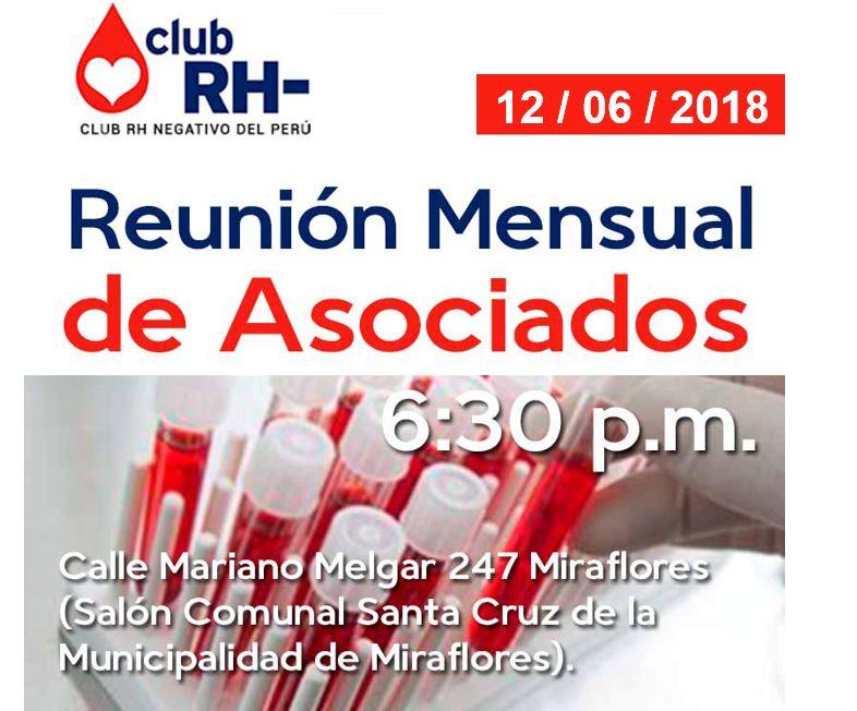 Aviso Reunión Asociados Club RH Negativo Martes 12 de junio 2018