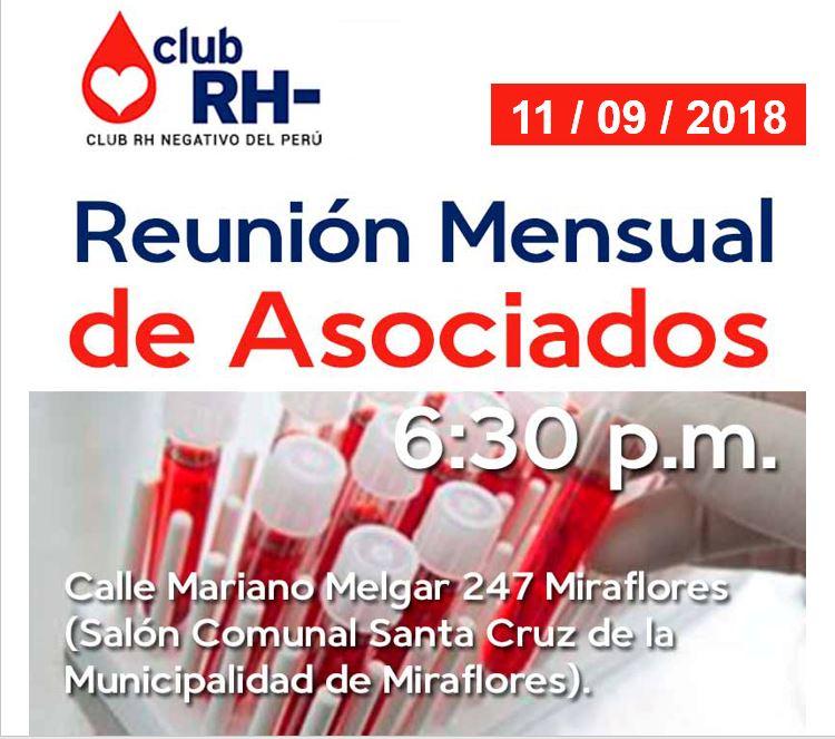 Aviso Reunión Asociados Club RH Negativo Martes 11 de setiembre 2018