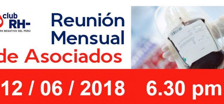 Reunion Mensual Club Rh Negativo, martes 12 de junio de 2018