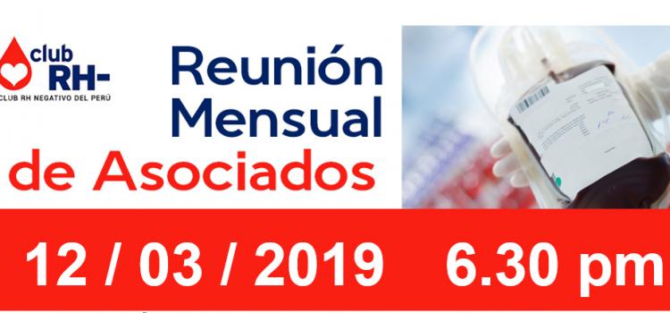 Reunion Mensual Club Rh Negativo, martes 12 de marzo de 2019