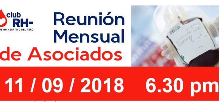 Reunion Mensual Club Rh Negativo, martes 11 de setiembre de 2018