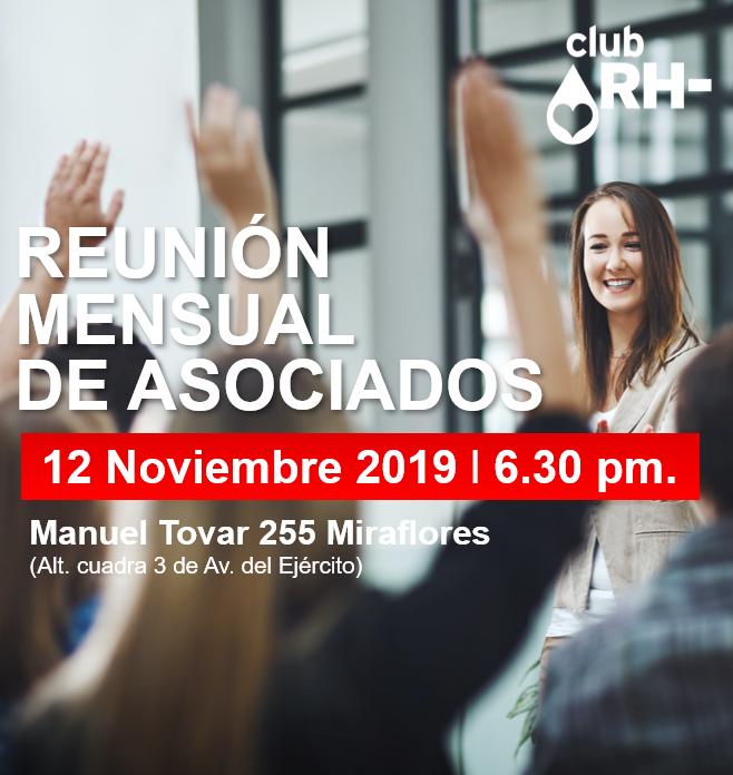 Aviso Reunión Asociados Club RH Negativo Martes 12 de noviembre 2019