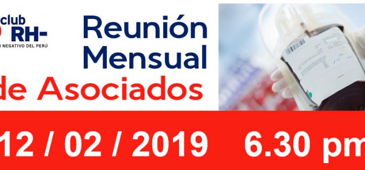 Reunion Mensual Club Rh Negativo, martes 12 de febrero de 2019