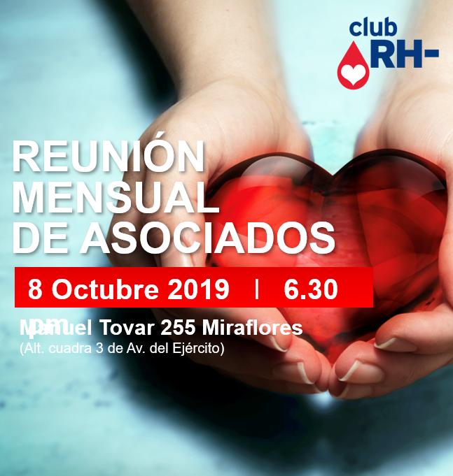 Aviso Reunión Asociados Club RH Negativo Martes 8 de octubre 2019