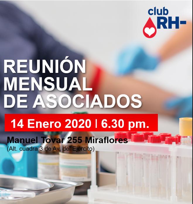 Aviso Reunión Asociados Club RH Negativo Martes 14 de enero 2020
