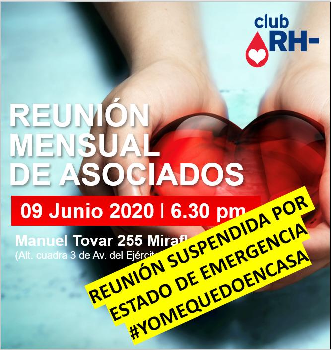 Aviso Reunión Asociados Club RH Negativo Martes 09 de junio 2020