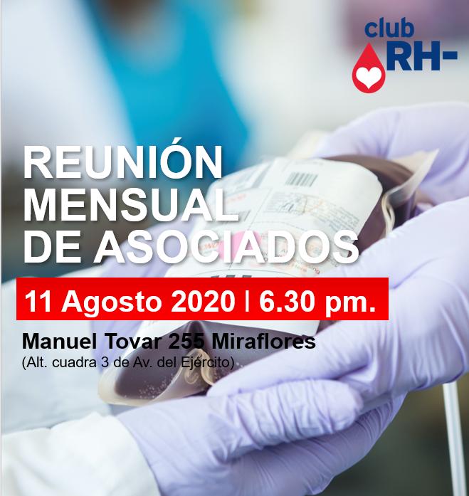 Aviso Reunión Asociados Club RH Negativo Martes 11 de agosto 2020