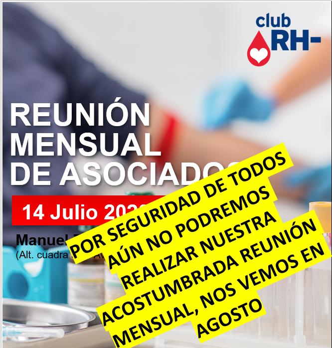 Aviso Reunión Asociados Club RH Negativo Martes 14 de julio 2020