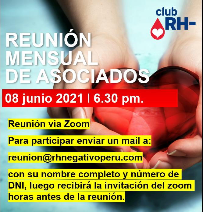 Aviso Reunión Asociados Club RH Negativo Martes 08 de junio 2021 vía ZOOM
