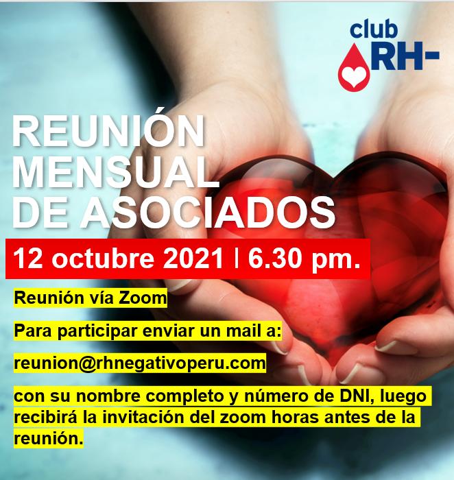Aviso Reunión Asociados Club RH Negativo Martes 12 de octubre 2021 vía ZOOM